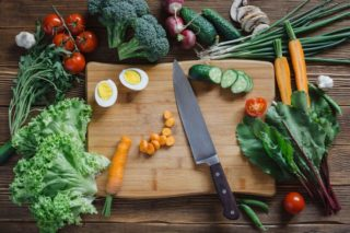healthy foods on cutting board
