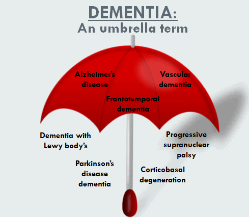 illustration showing that dementia is an umbrella term