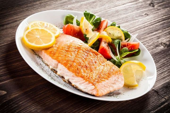 cooked salmon on a plate