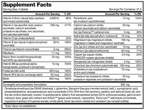 nutritional supplement label