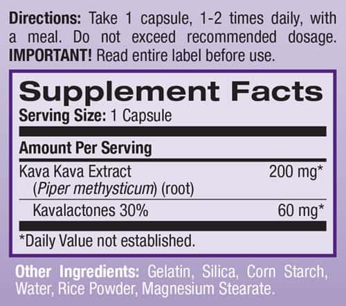 kava supplement label
