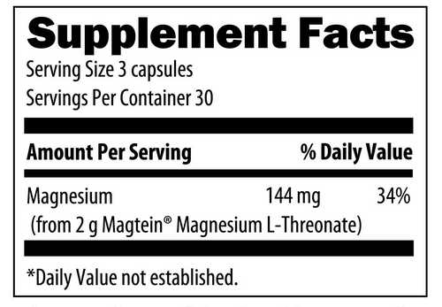 magnesium l-threonate supplement label