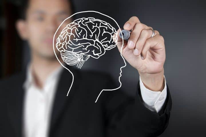 photo of a man drawing an illustration of a brain