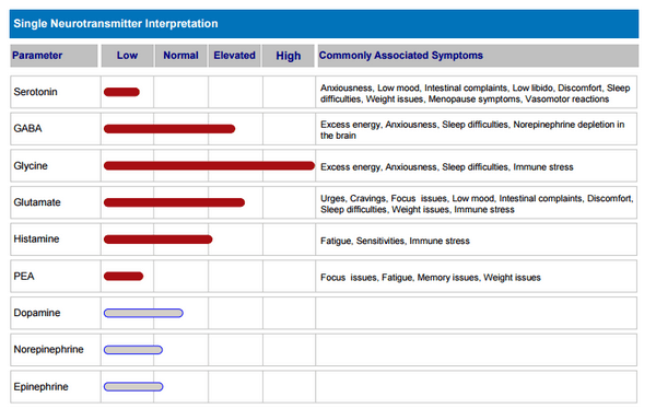 chart showing neurotransmitter level test results