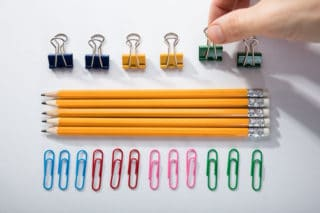 neat rows of office supplies