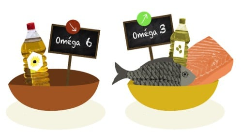 illustration of foods that are primary sources of omega-6 and omega-3 fats