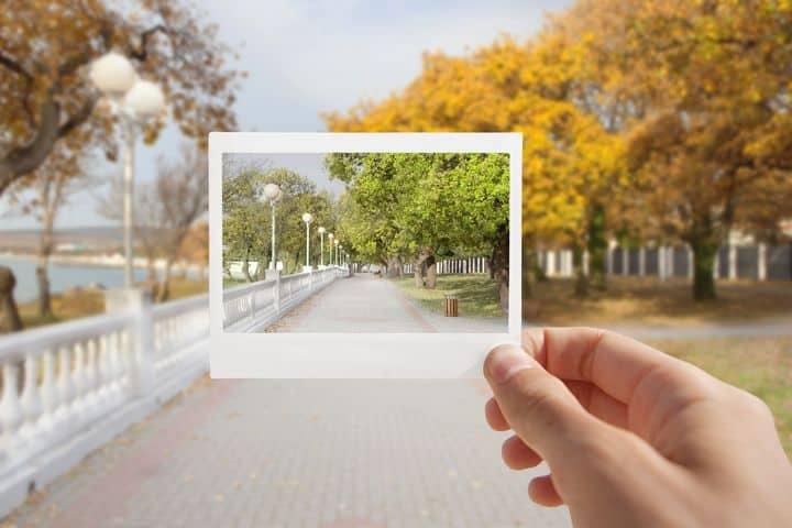 street scene in photograph frame