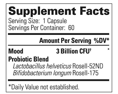 psychobiotic supplement label