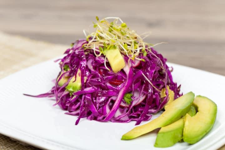 red cabbage avocado salad