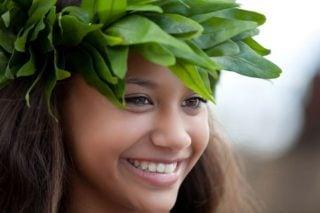 smiling Polynesian woman