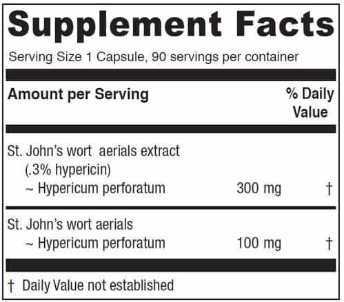 st john's wort supplement label