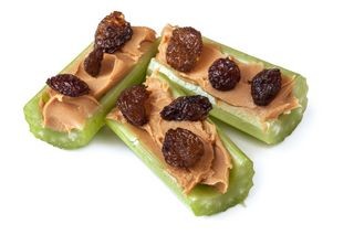 celery stuffed with peanut butter and raisins