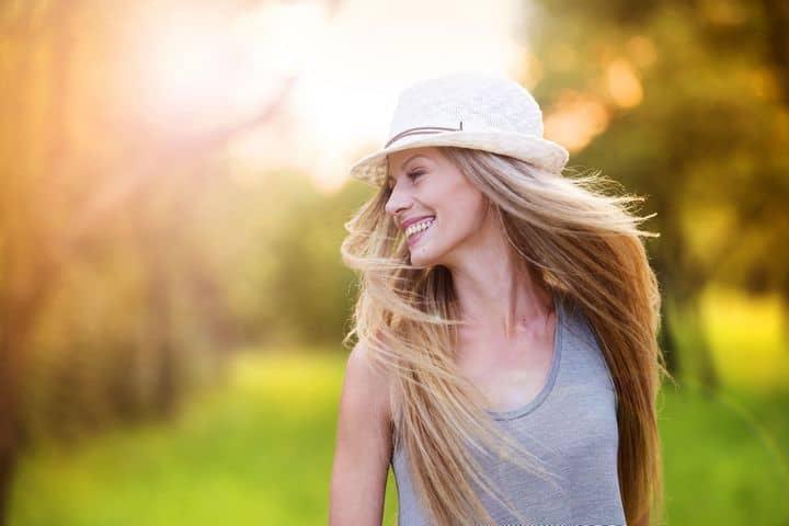 woman in hat, walking