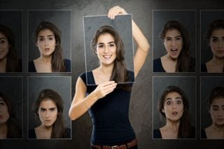 woman showing pictures of her many moods