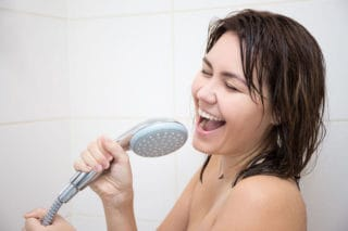 woman singing in the shower